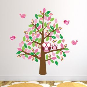Owls In Tree Wall Sticker