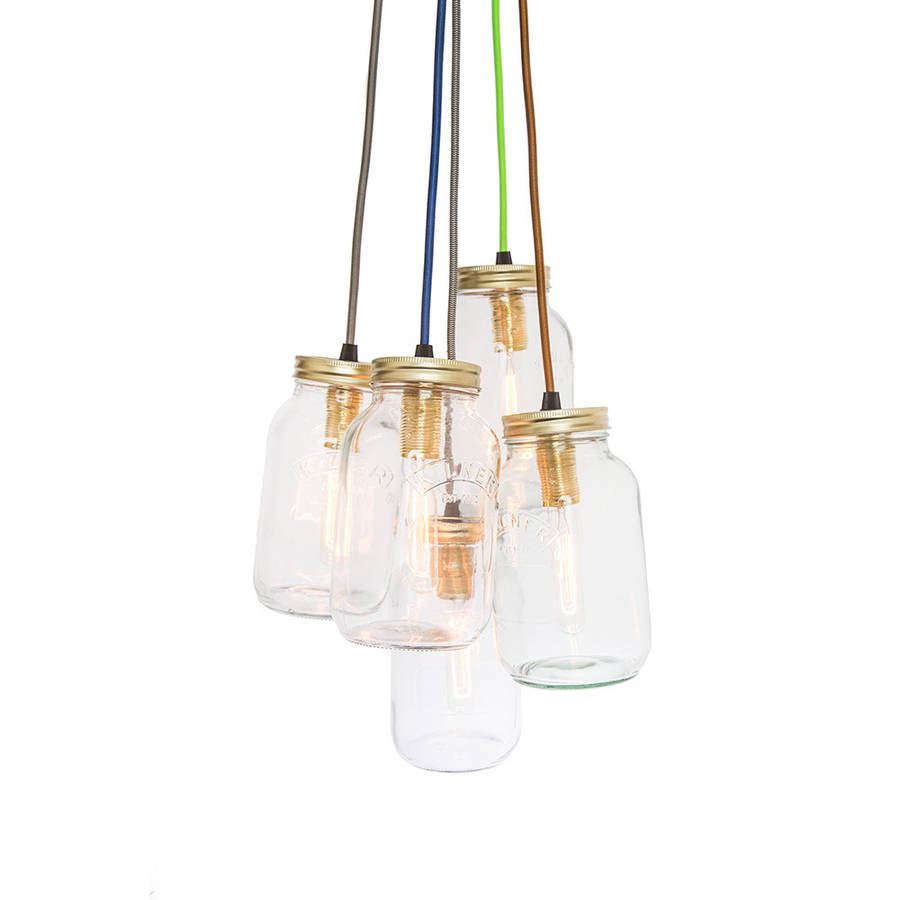 Five Jam Jar Pendant Light