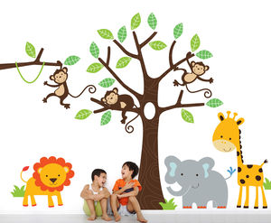 Childrens Jungle Wall Sticker Tree And Animals - living room