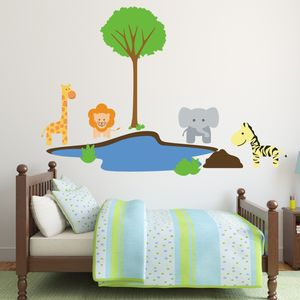 Jungle Animals At Watering Hole Wall Sticker - view all sale items