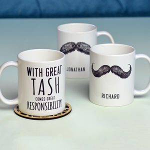 Personalised 'Great Tash' Man Mug - stocking fillers under £15