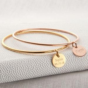 Gold Personalised Charm Bangle - jewellery