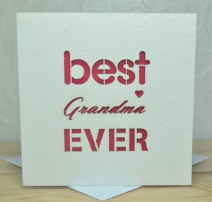 Best Grandma Ever Laser Cut Card