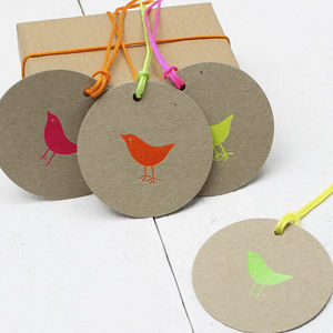 Pack Of Eight Neon Birdy Gift Tags