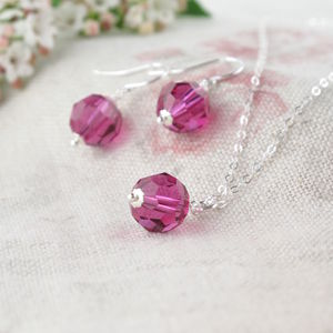 Alice Fuchsia Crystal Pendant And Earring Set - wedding jewellery