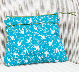 Tall Make Up Bag In Teal Swallow