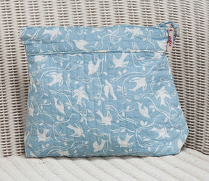 Tall Make Up Bag In Grey Blue Swallow