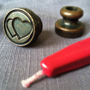 Love Heart Brass Wax Seal - ribbon & gift tags