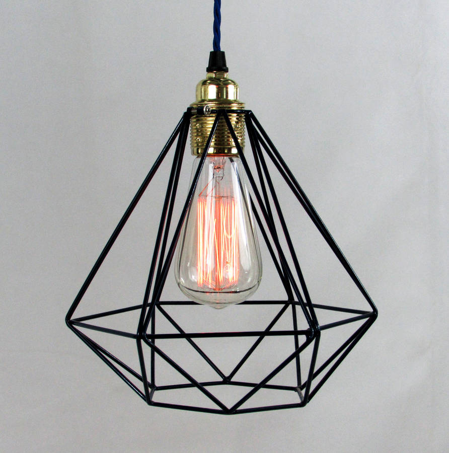 Diamond cage pendant light by unique 39 s co for Lampe suspendu noir