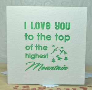 'I Love You To The Top…' Laser Cut Card