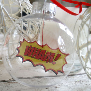 Comic Book Bauble, Wham Boomble - tree decorations