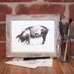 Snouting About Pig Print And Original - animals & wildlife