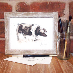 Snuffle For Truffles Pig Print And Original - animals & wildlife