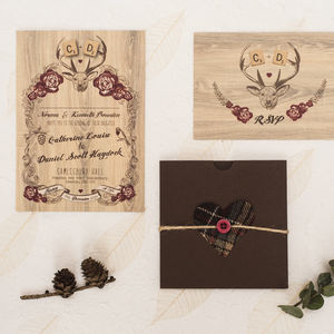 Deer Winter Wedding Invitation - wedding stationery