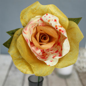 Single Long Stem Yellow Paper Rose - artificial flowers