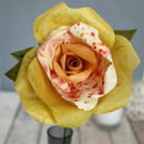 Single Long Stem Yellow Paper Rose