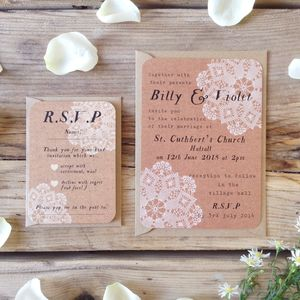 Doily Wedding Invitation And RSVP Bundle