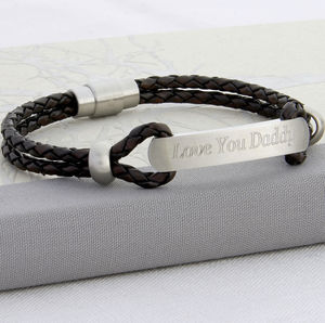 Men's Personalised Plaited Leather ID Bracelet - gifts from younger children