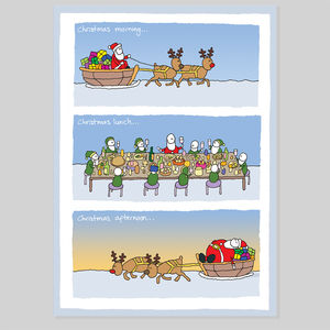 Santa's Big Lunch Christmas Card - christmas cards