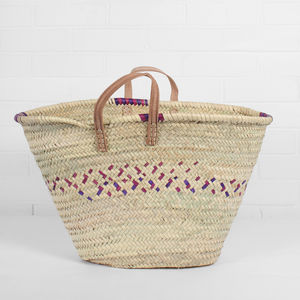 Parisienne Colour Weave Shopping Basket - camping