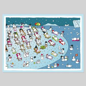 Snowbathing Christmas Card - cards