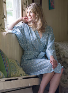 Cotton Kimono Dressing Gown Blue Grey Swallows - the morning of the big day