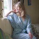 Cotton Kimono Dressing Gown Blue Grey Swallows