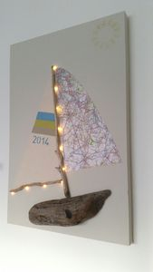 Driftwood And London Map Boat With Lights On Canvas