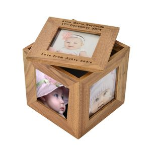 Personalised Oak Photo Cube - personalised