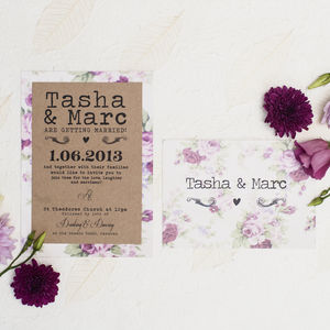 'Rustic Romance' Wedding Invitation - reply & rsvp cards