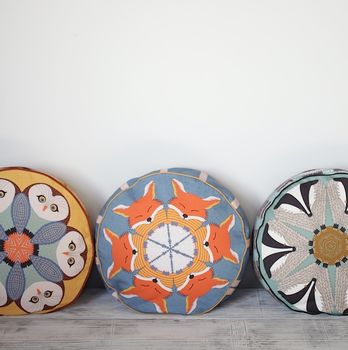 Set Of Three Pouffes Fox Badger And Owl