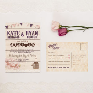 Birdcage And Bunting Wedding Invitation