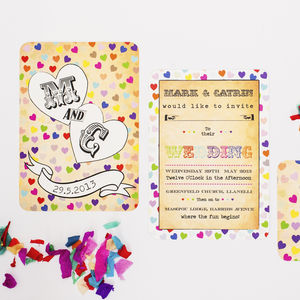 Confetti Love Wedding Invitation - wedding stationery
