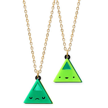 Double Sided Mini Triangle Necklace In Four Colours