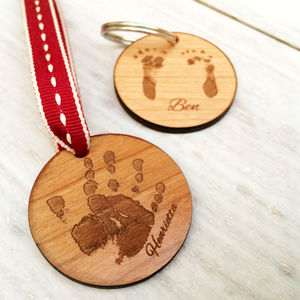 Personalised Handprint Or Footprint Keyring - gifts for new mums