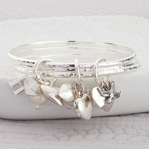 Personalised Luxe Argent Sterling Silver Bangle Set