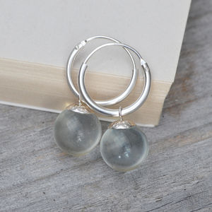 Glass Ball Dangle Earrings With Sterling Silver Hoops