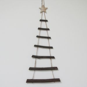 Large Wooden Twig Hanging Decoration - christmas trees