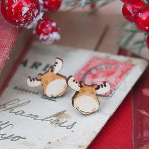 Wooden Reindeer Earrings - christmas entertaining