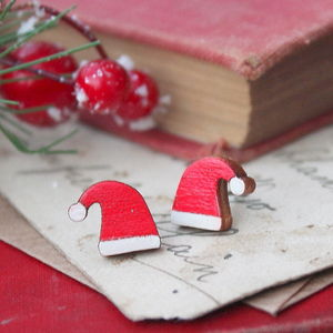 Wooden Santa Hat Earrings - christmas jewellery