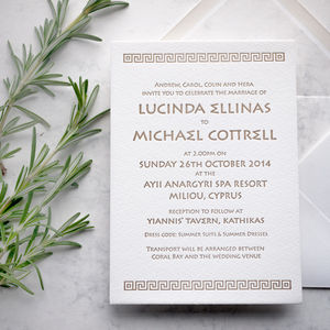 Aphrodite Letterpress Wedding Stationery - invitations