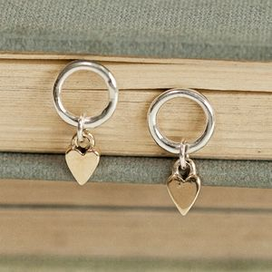Solid Gold And Silver Heart Drop Studs - earrings