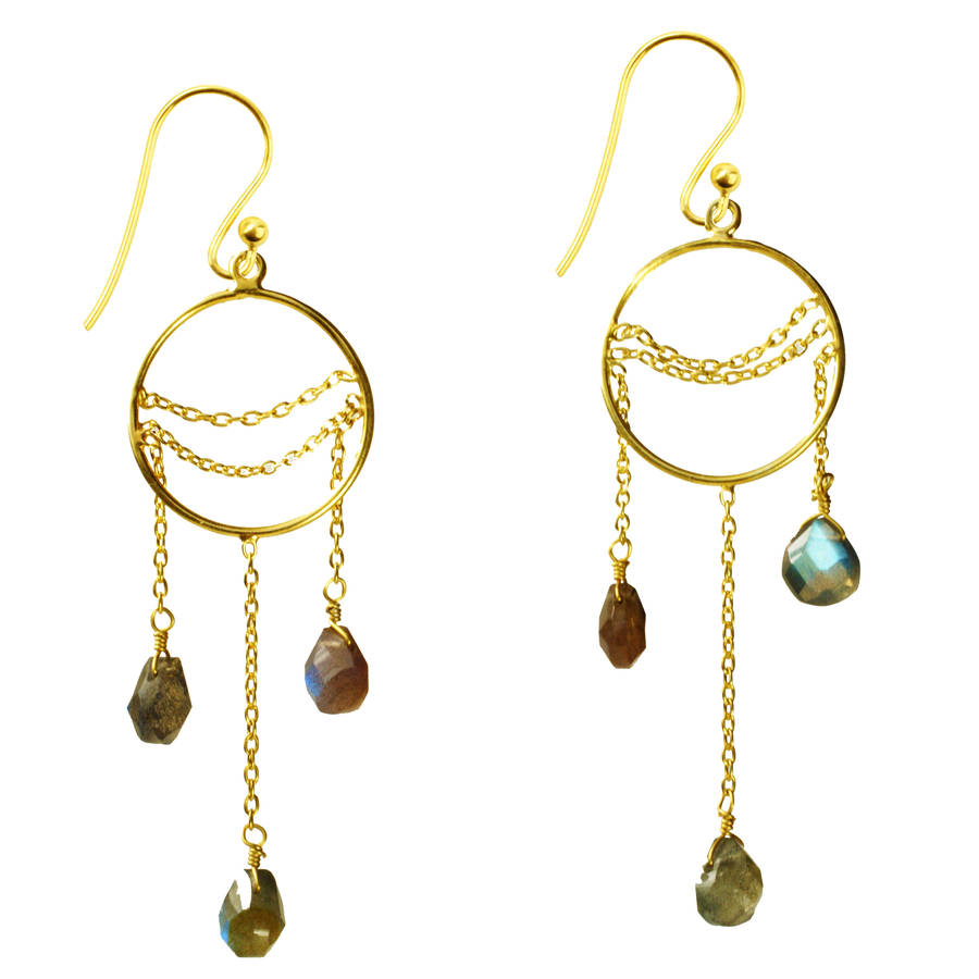 Amelia Earrings Labradorite And Gold