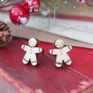 Wooden Gingerbread Man Earrings - earrings