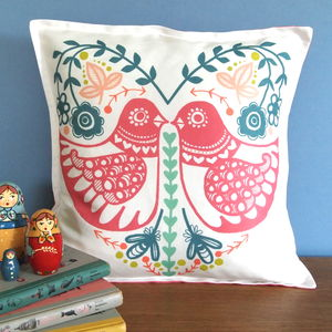 Folk Heart Birdie Cushion Cover - soft furnishings & accessories