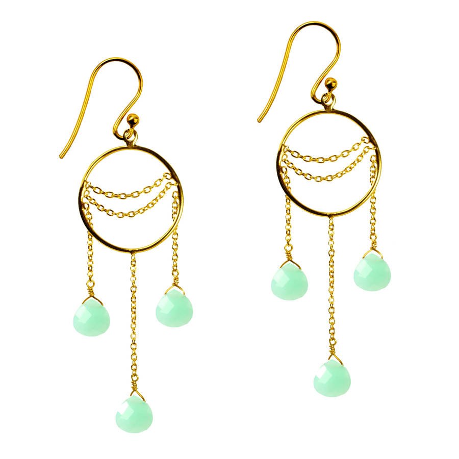 Amelia Earrings Chrysoprase And Gold