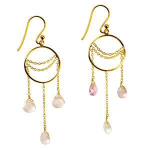 Amelia Earrings Rose Quartz And Gold
