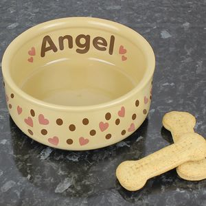 Heart Personalised Large Pet Bowl