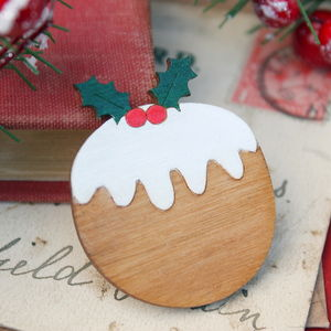 Wooden Christmas Pudding Brooch - women's jewellery