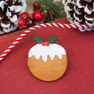 Wooden Christmas Pudding Brooch
